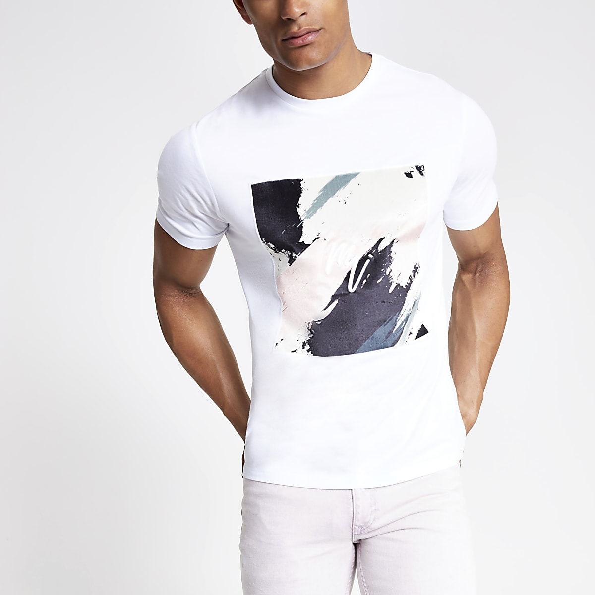 White smudge print slim fit T-shirt