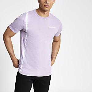 T-shirt slim violeteffet tie and dye