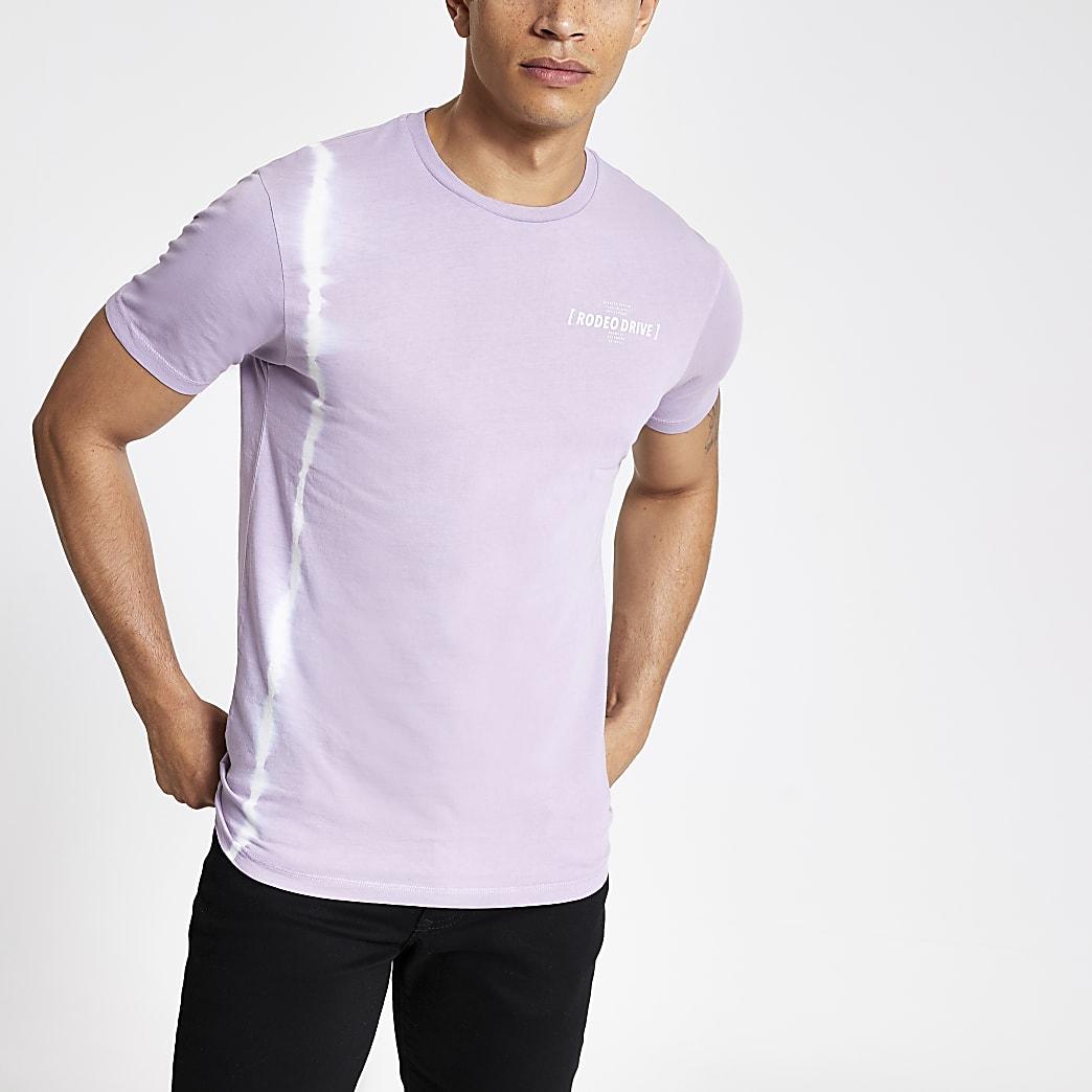 Paars tie-dye slim-fit T-shirt