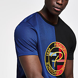 Zwart slim-fit T-shirt met 'Prolific'-print en mesh