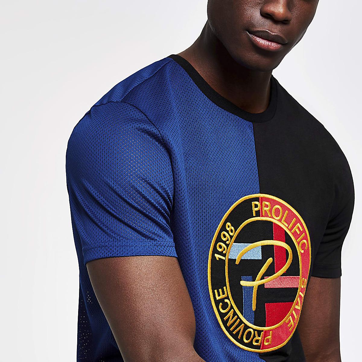 """Schwarzes Slim Fit T-Shirt """"Prolific"""" mit Mesh-Einsatz"""