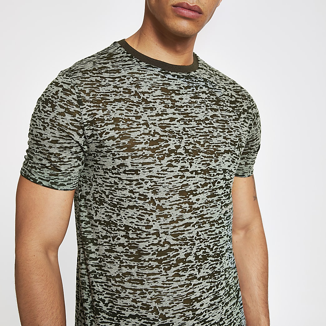 Khaki print slim fit T-shirt