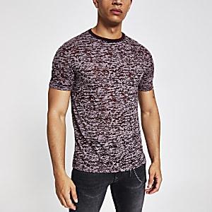 Bordeauxrood slim-fit T-shirt met print