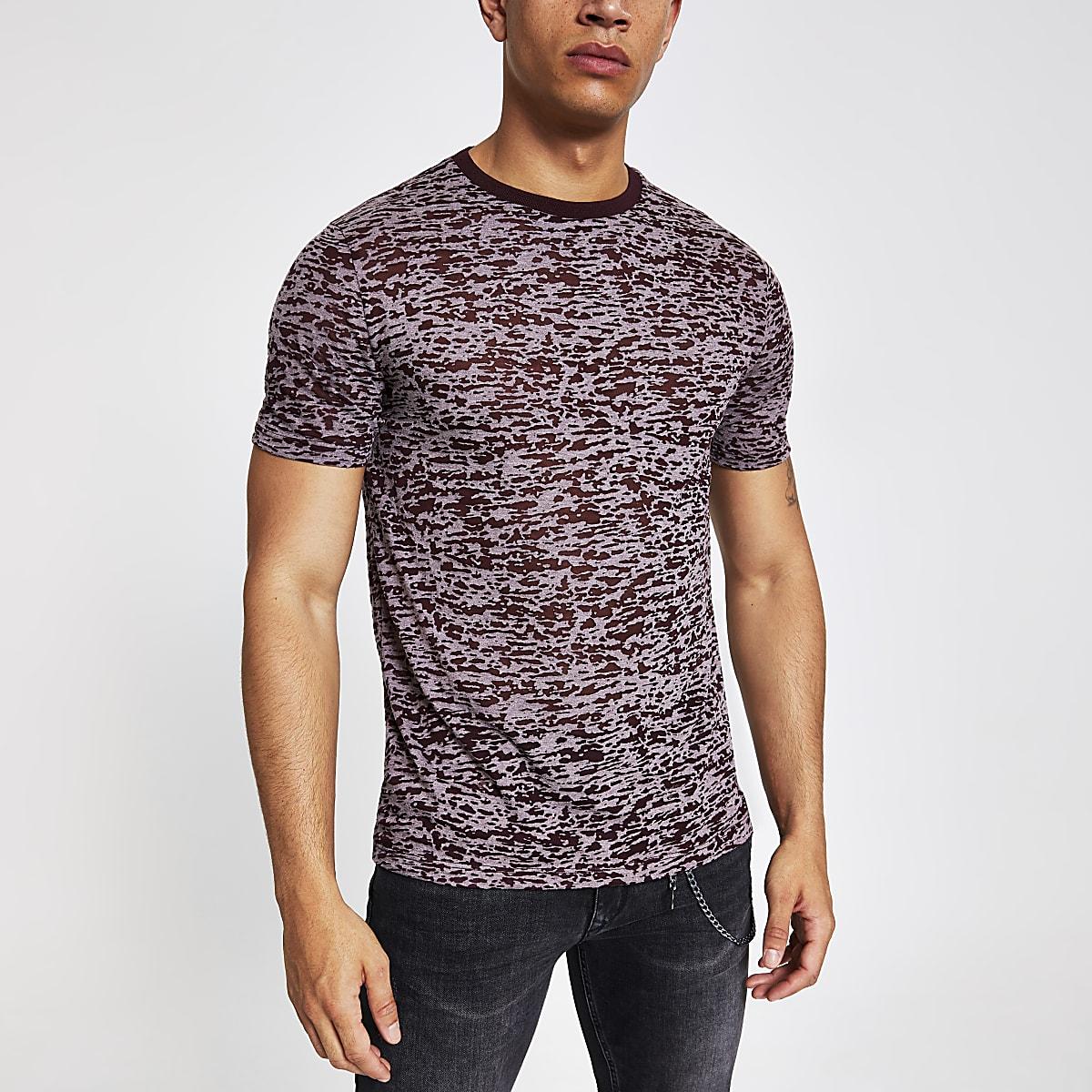 Burgundy print slim fit T-shirt