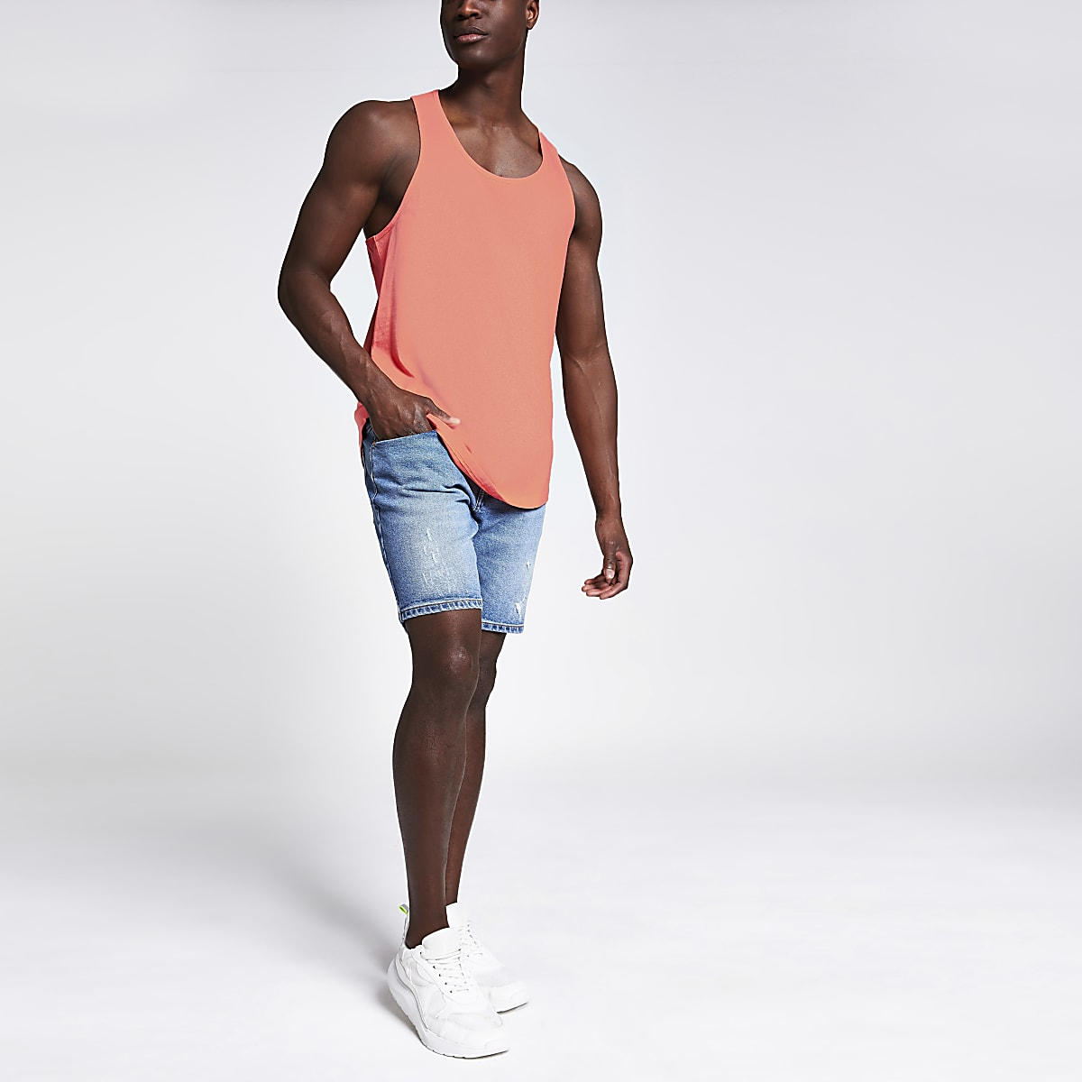 Orange curved hem racer back vest