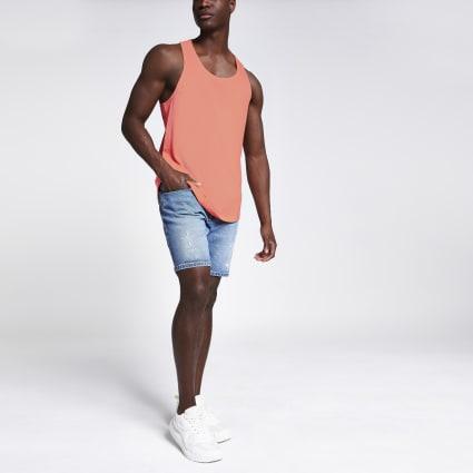 Orange curved hem racer back vest