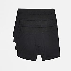 Set met 4 zwarte strakke boxers