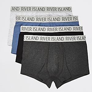 Set van 4 blauwe metallic strakke boxers met kleuren