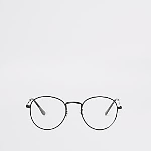 Schwarze, runde Brille