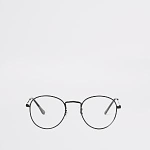 Lunettes noires rondes à verres transparents