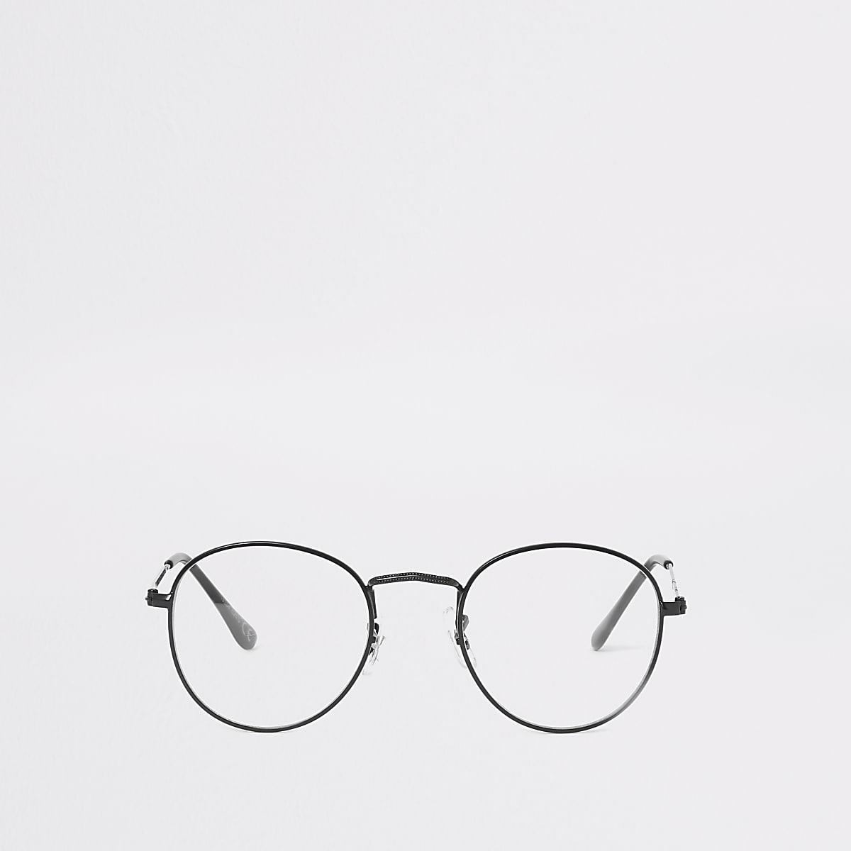 Black round clear lens glasses