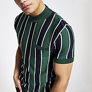 Green stripe slim fit turtle neck T-shirt