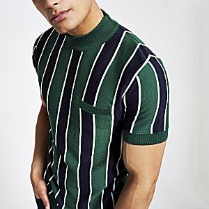 T-shirt slim rayé vert à col montant
