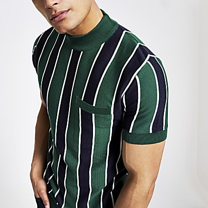 Green stripe slim fit turtle neck T-shirt