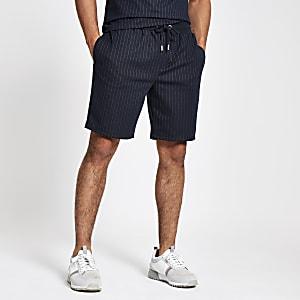 Navy pinstripe slim fit jersey shorts