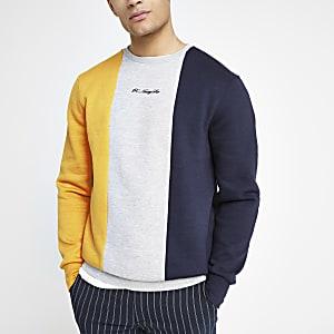 R96 - Geel slim-fit sweatshirt met kleurvlakken