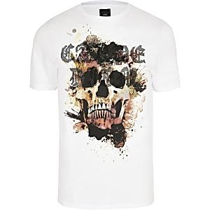 """Big & Tall – Weißes Slim Fit T-Shirt """"skull"""""""