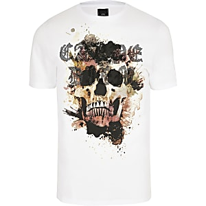 Big and Tall – T-shirt slim blanc motif tête de mort