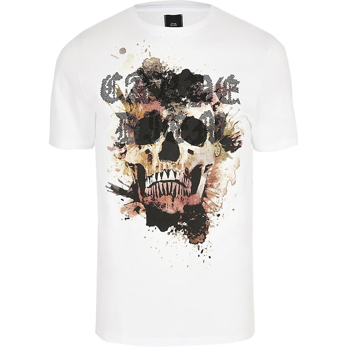 Big and Tall - Wit slim-fit T-shirt met 'skull'-print