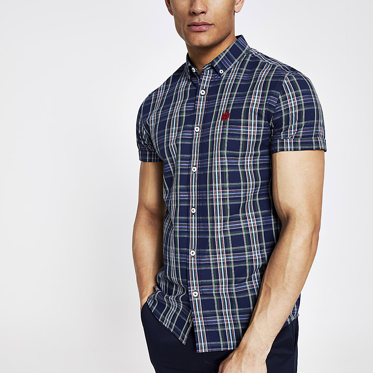 Navy check slim fit shirt