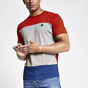 Jack & Jones – Rotes T-Shirt in Blockfarben