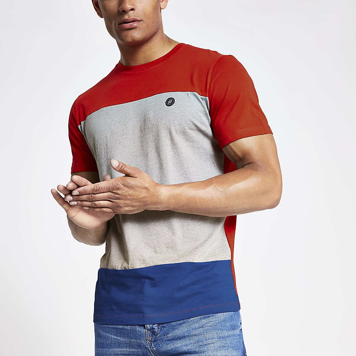 Jack and Jones red block T-shirt