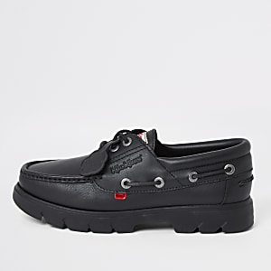 Kickers Lennon black leather boat shoes