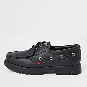 Kickers – Lennon – Chaussures bateau en cuir noires