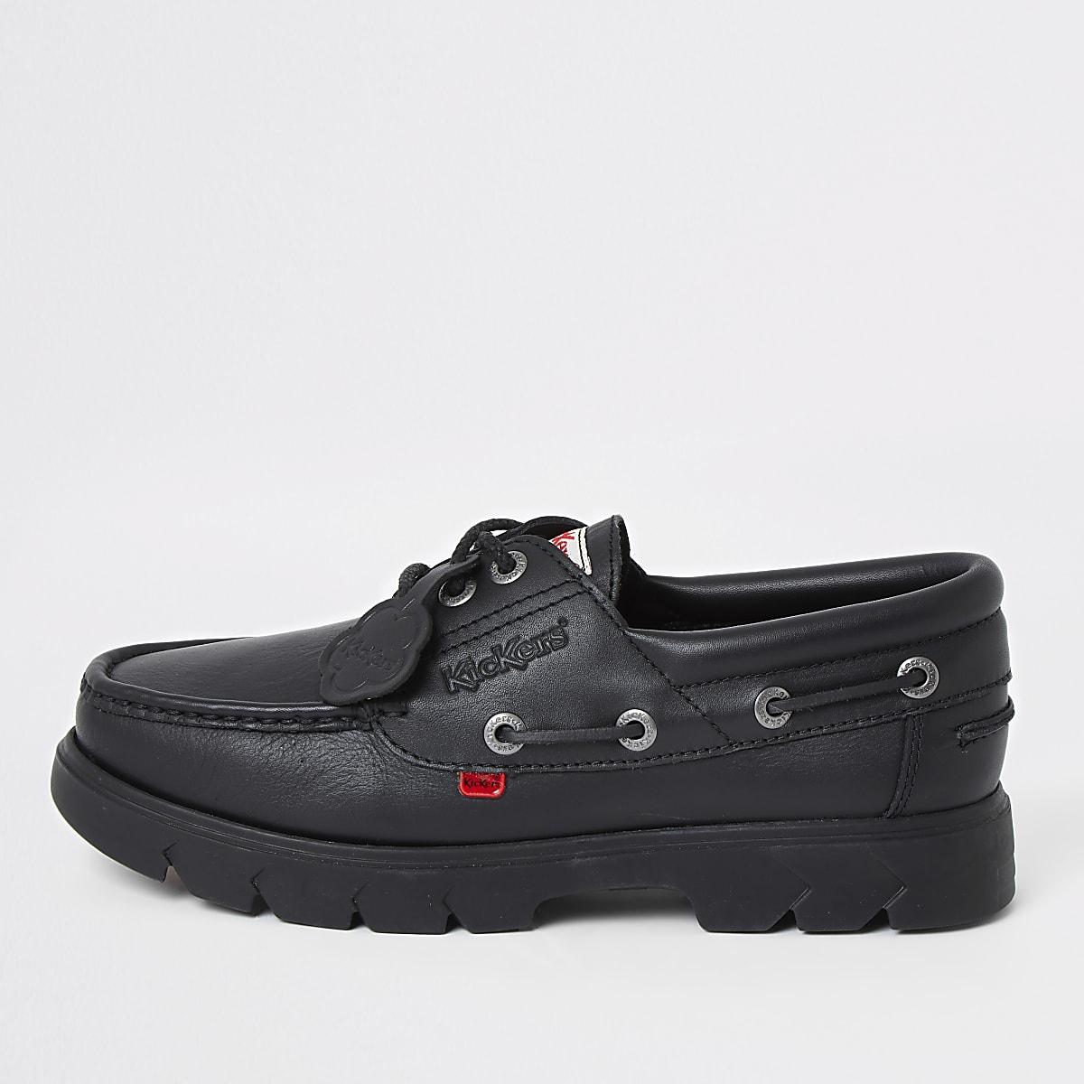 Kickers Lennon black leather boat shoes