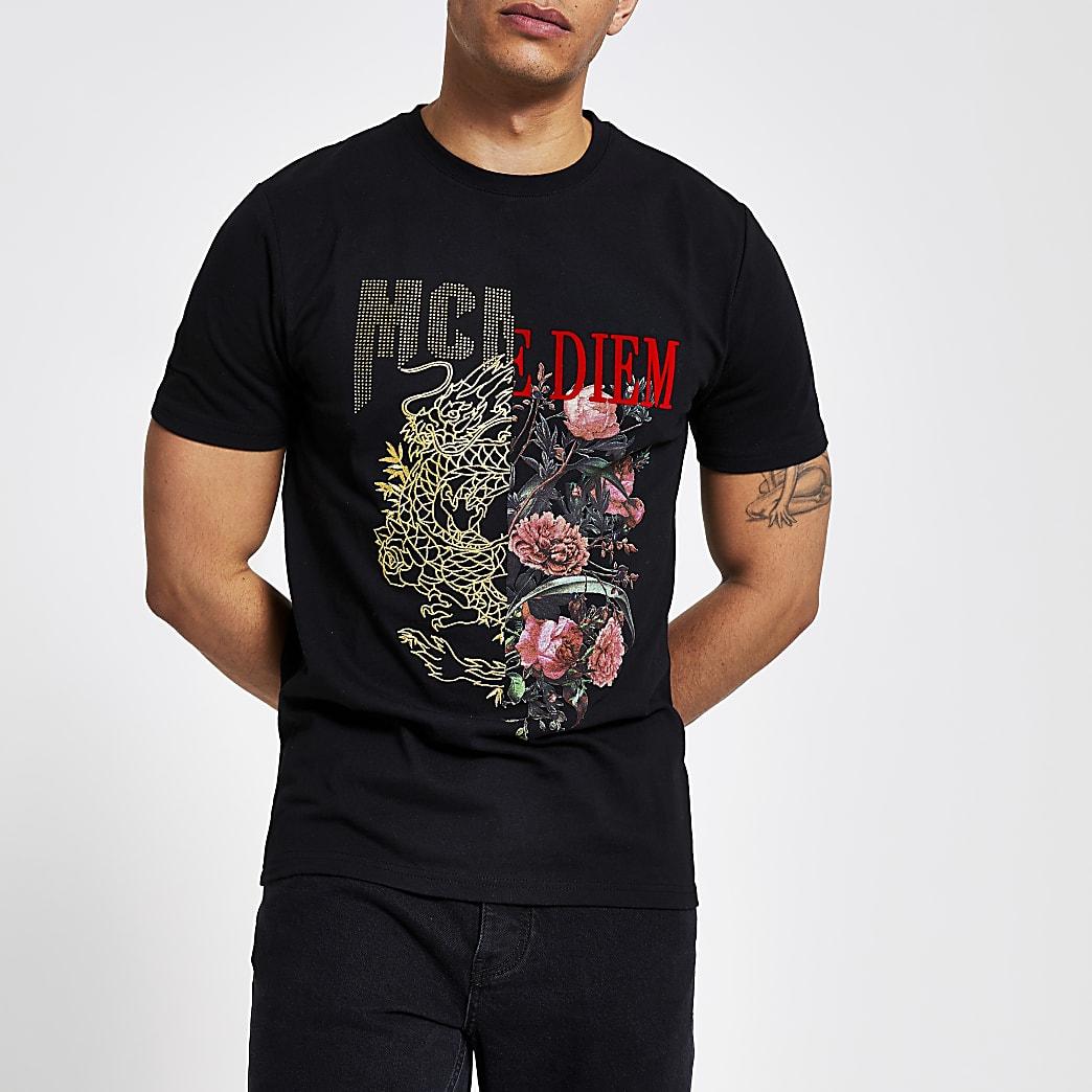 Zwart slim-fit T-shirt met gespleten print