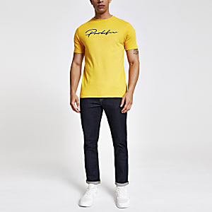 Geel slim-fit T-shirt met 'Prolific'-print