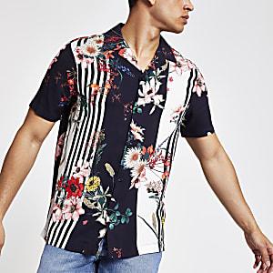 Chemise à manches courtes fleurie bleu marine
