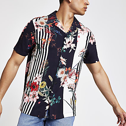 Navy floral print short sleeve revere shirt