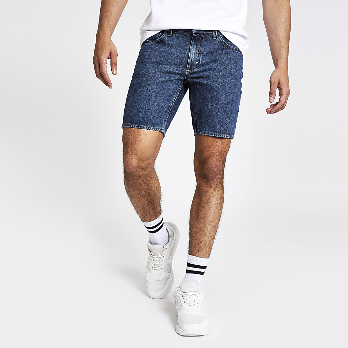 Blue Dylan slim fit denim shorts