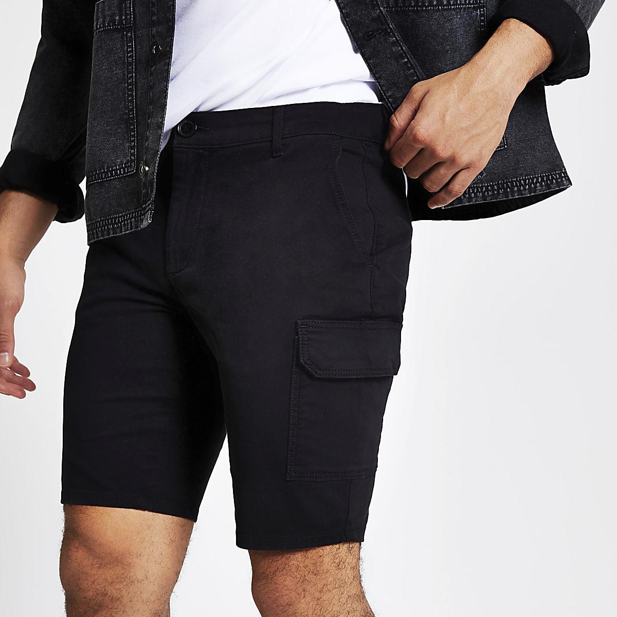 Black utility skinny shorts