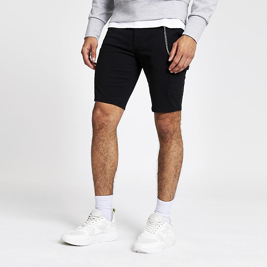 Short skinny utilitaire noir à chaîne