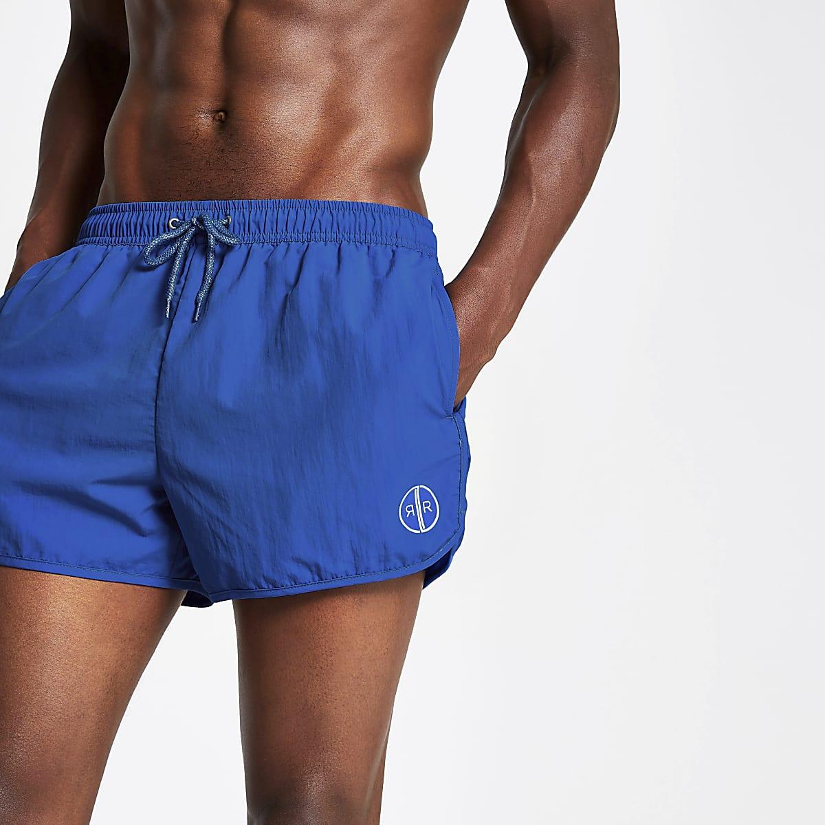 Bright blue runner swim shorts