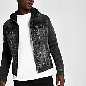 Black muscle fit hooded denim jacket