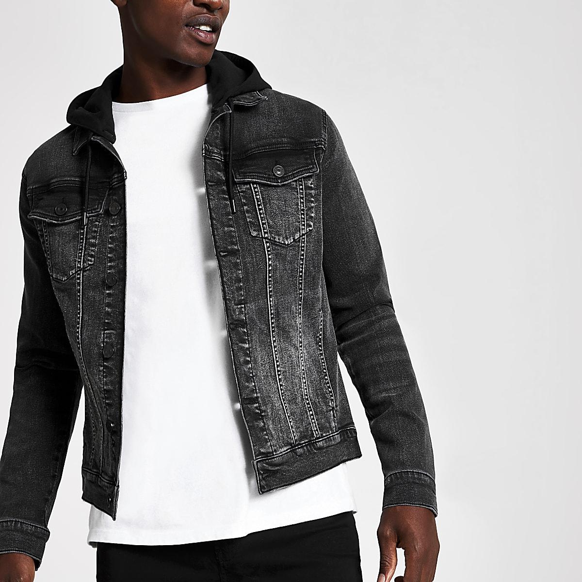 Black muscle fit hooded denim jacket