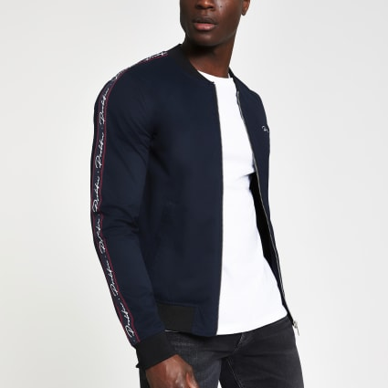 Navy Prolific muscle fit bomber jacket