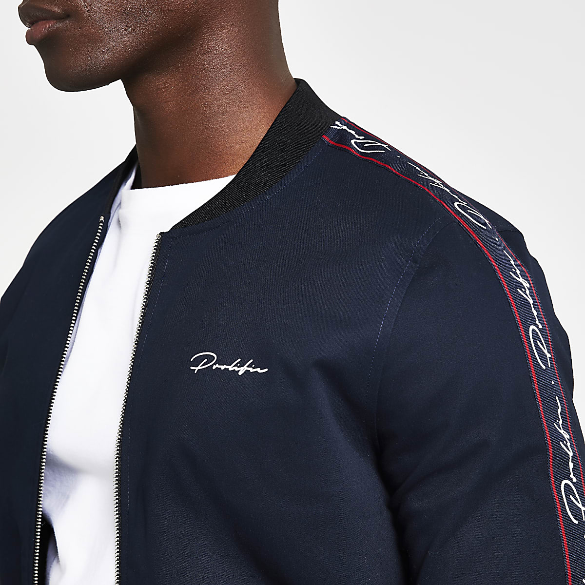 0439debae Navy Prolific muscle fit bomber jacket