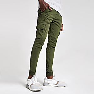 Kaki superskinny cargobroek