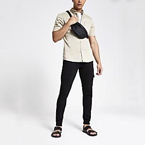 Danny – Pantalon cargo ultra skinny noir
