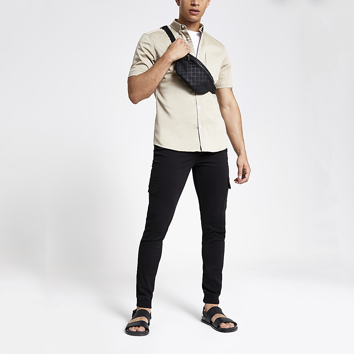 Black Danny super skinny cargo trousers