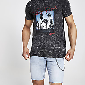 Black 'Venice Beach' slim fit T-shirt