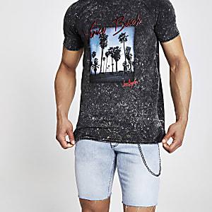 Zwart slim-fit T-shirt met 'Venice Beach'-print
