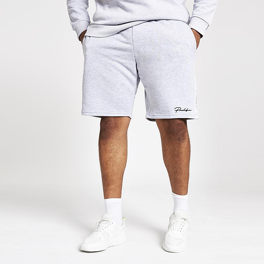 Big and Tall- Grijze slim-fit shorts met Prolific-print