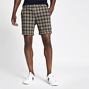 Navy check print skinny fit shorts
