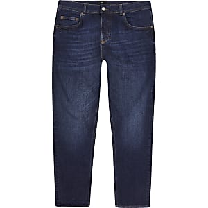 Jimmy - Donkerblauwe smaltoelopende cropped jeans