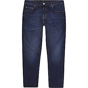 Jimmy - Donkerblauwe smaltoelopende jeans